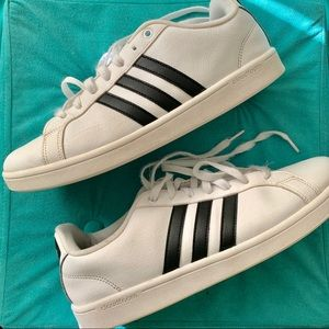 Men's Adidas White Cloudfoam Leather Sneakers 11.5